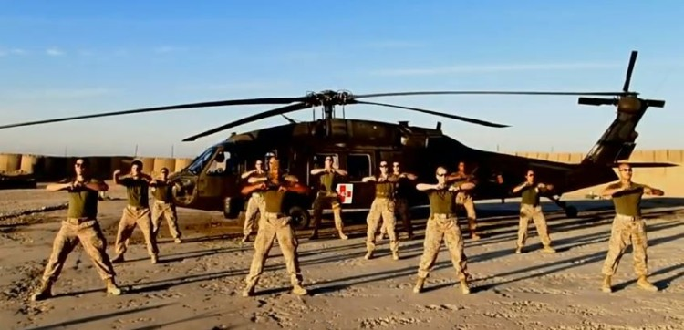 They May Be Overseas Protecting Our Country But They Still Know How To Have Some Gangnam Style Fun.