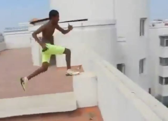 This Is Just Insane! He Jumps off a 5-Story Building Into A Pool!!