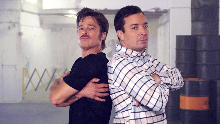 It's A Dream Come True! Brad Pitt Breakdances With Jimmy Fallon On The Night Show!
