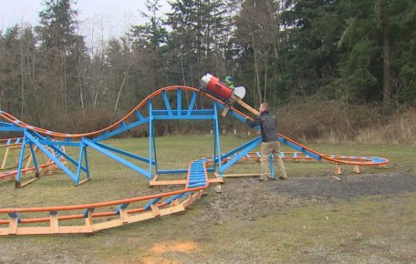 Dad Builds DIY Backyard Roller Coaster